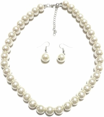 Amazon.com: PEARL Large Faux Necklace and Earring Set by Millennium Design: Toys & Games