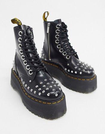 Dr Martens Jadon Max studded chunky flatform boots in black | ASOS