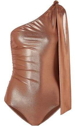 The Arden One-shoulder Knotted Metallic Swimsuit