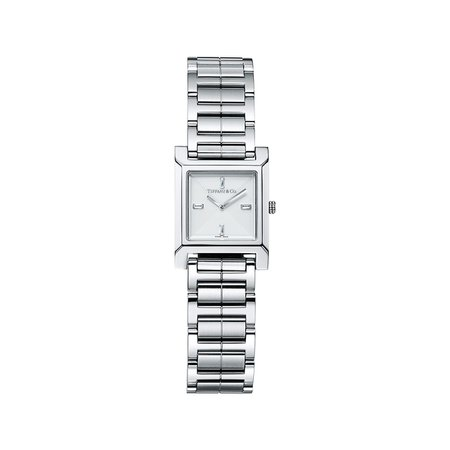 Tiffany 1837 Makers 22 mm square watch in stainless steel with a silver dial.   Tiffany & Co.
