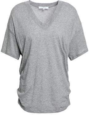 Ruched Melange Cotton-jersey T-shirt