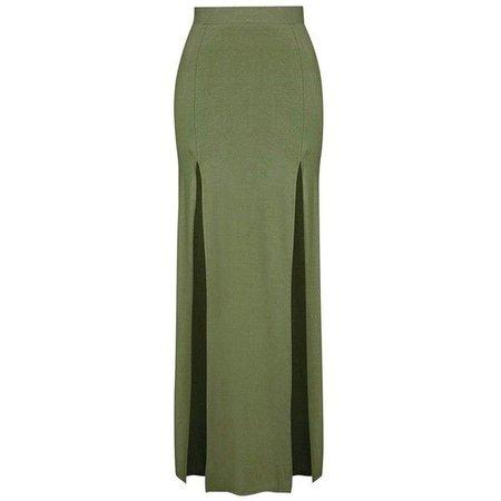 green slit skirt 1