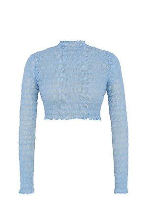 'Delight' Powder Blue Shirred Crop Top - Mistress Rock
