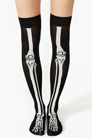 halloween Skeleton Thigh Highs