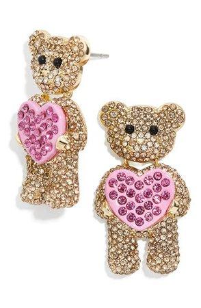 BaubleBar Teddy Bear Heart Pavé Stud Earrings | Nordstrom