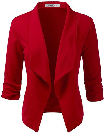 Doublju Womens Casual Work 3/4 Sleeve Open Front Blazer Jacket with Plus Size RED Medium at Amazon Women's Clothing store