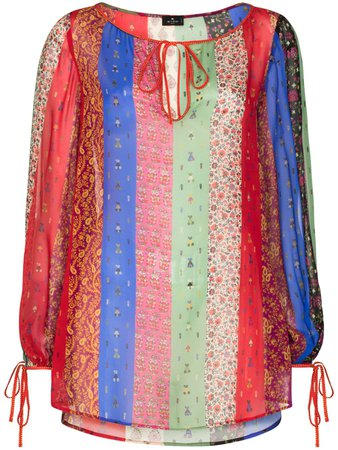 Etro colour-blocked Paisley And floral-print Blouse - Farfetch