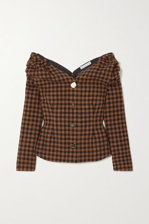 Brown Miriam off-the-shoulder button-embellished checked wool and cotton-blend blouse | REJINA PYO | NET-A-PORTER