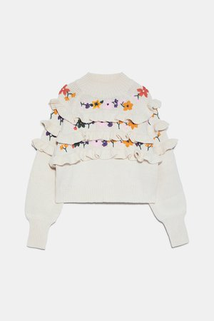 RUFFLED EMBROIDERED SWEATER | ZARA United States white