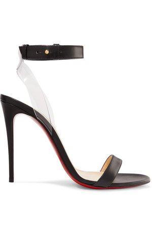 Christian Louboutin   Jonatina 100 PVC-trimmed leather sandals   NET-A-PORTER.COM