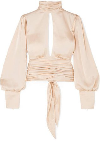 Night Out Open-back Ruched Satin Blouse - Neutral
