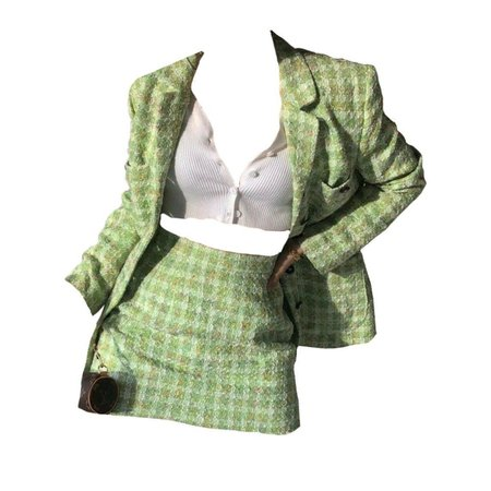 lime green tweed two piece set blazer mini skirt clothing outfit png polyvore moodboard filler - Google Search