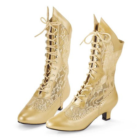 Gilded Age Gold Boots - Women's Romantic & Fantasy Inspired Fashions