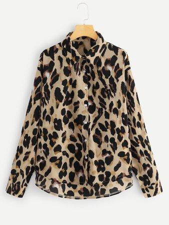 Leopard Print Curved Hem Shirt   SHEIN