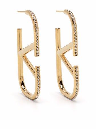Valentino Garavani VLOGO Embellished Earrings - Farfetch