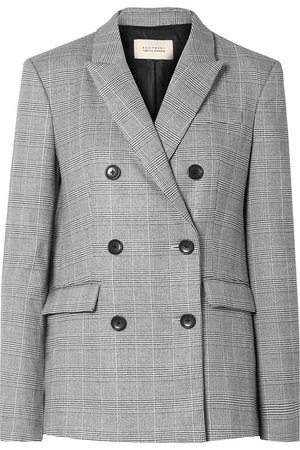 Equipment   + Tabitha Simmons Hamish oversized Prince of Wales checked voile blazer   NET-A-PORTER.COM