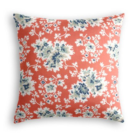 Blue & Pink Coral Leaf Pillow | Loom Decor