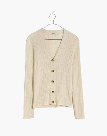 Pointelle Ribbed Cardigan Sweater