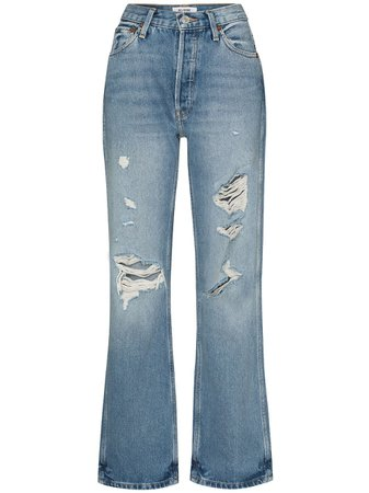 RE/DONE 90s Distressed straight-leg Jeans - Farfetch