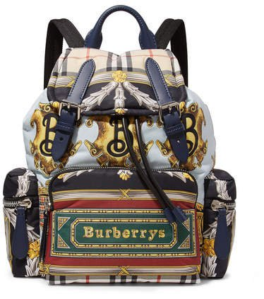 Printed Shell And Leather Backpack - Blue