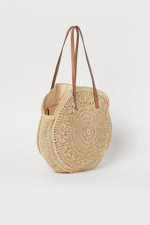 Sac shopping rond en paille - Beige clair - | H&M BE