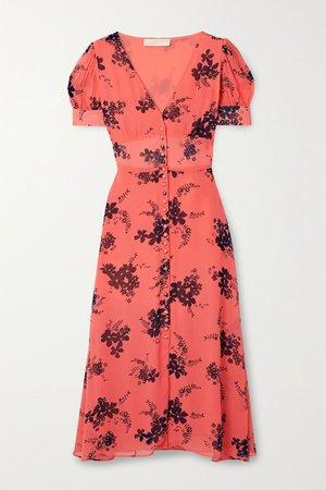 Orange Floral-print crepe midi dress | MICHAEL Michael Kors | NET-A-PORTER