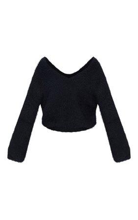Black Eyelash Knitted Sweater | Knitwear | PrettyLittleThing USA