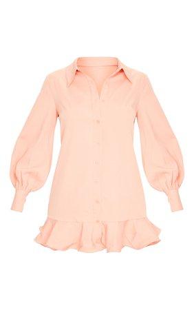 Peach Frill Hem Shirt Dress | PrettyLittleThing USA