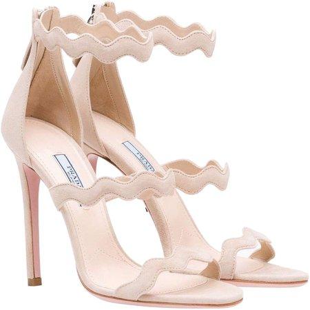 Prada Scalloped Sandals in Beige Suede