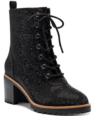 Black INC International Concepts INC Women's Samira Lace-Up Booties, Created for Macy's & Reviews - Boots - Shoes - Macy's