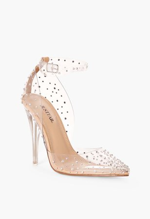 Mika Embellished Clear Pump in Clear by JustFab