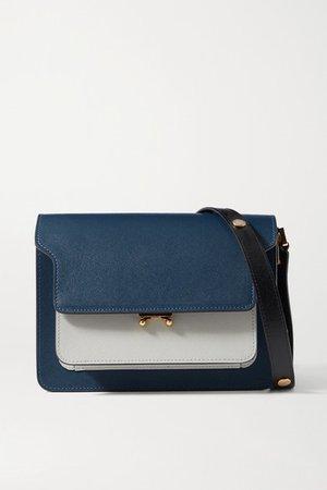 Trunk Medium Color-block Textured-leather Shoulder Bag - Navy