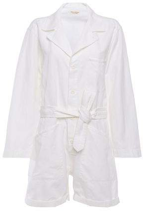 Ariana Tie-front Cotton And Linen-blend Twill Playsuit