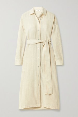 Belted Cotton-blend Shirt Dress - Off-white
