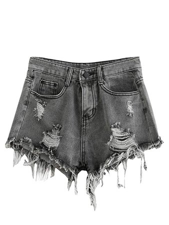 Grey Denim Shorts (Distressed)