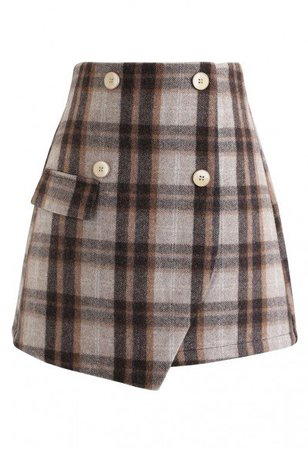 Plaid Button Trim Mini Skirt in Brown - Skirt - BOTTOMS - Retro, Indie and Unique Fashion