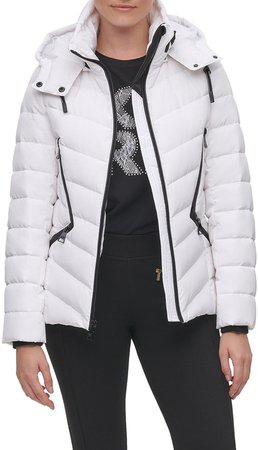 Water Resistant Down & Feather Hooded Puffer Coat