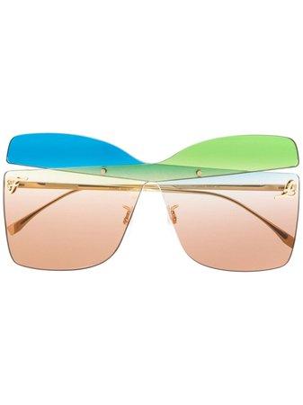 Fendi Eyewear Ff0399S Rnbha Blu Verde Leather/fur/exotic Skins->Leather | Farfetch.com