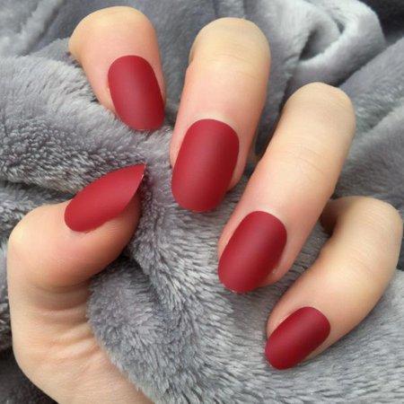 Cherry Matte Short Oval – Doobys Nails