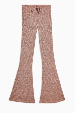 PETITE Pink Ribbed Flare Trousers | Topshop