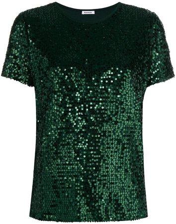 sequined short sleeve top