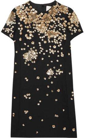 Sequin-embellished Wool And Silk-blend Mini Dress - Black