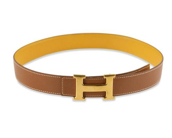 Hermes Yellow and Gold 32mm Small Constance Reversible Belt - Tradesy