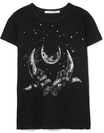 Taurus Printed Distressed Cotton-jersey T-shirt - Black
