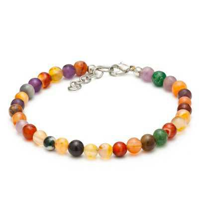Multi Color Agate Gemstone Anklet | Women's Ankle Bracelets - Mystic Self LLC