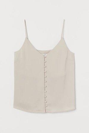 Buttoned V-neck Camisole Top - Light beige - | H&M US