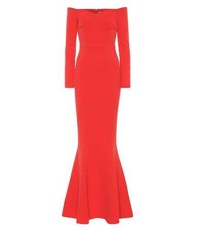 L'amour off-the-shoulder crêpe gown