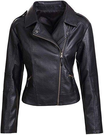 Artfasion Womens Slim Tailoring Faux Leather PU Short Jacket Coat Moto Biker Jacket at Amazon Women's Coats Shop
