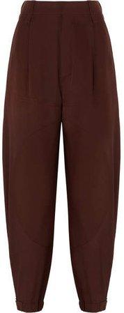 Silk Crepe De Chine Tapered Pants - Dark brown