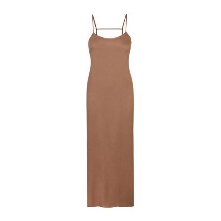 Silk Long Sleep Slip Dress - Cocoa   Long Silk Nightgown   SKIMS